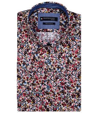 Giordano Regular Fit overhemd korte mouw roze rood bruin blauw print