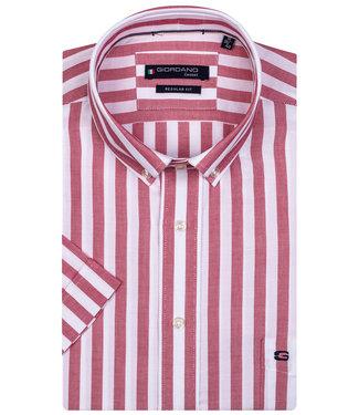 Giordano Regular Fit overhemd korte mouw rood-wit streep