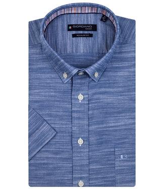 Giordano Regular Fit korte mouw blauw oxford overhemd