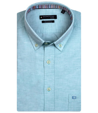 Giordano Regular Fit korte mouw aqua blauw oxford overhemd
