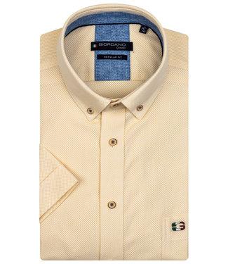 Giordano Regular Fit korte mouw geel structuur overhemd