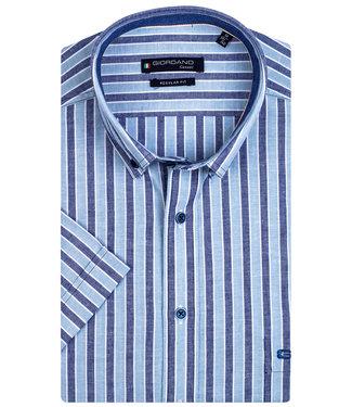Giordano Regular Fit korte mouw overhemd donkerblauw-aqua blauw-wit streep