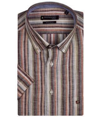 Giordano Tailored korte mouw overhemd groen-grijs-brique-beige streep linnen look