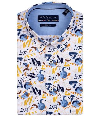 R.B. Boston overhemd korte mouw wit met geel bruin donkerblauw bruin grafische print
