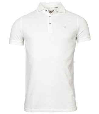 Thomas Maine polo wit 1knoops cut away