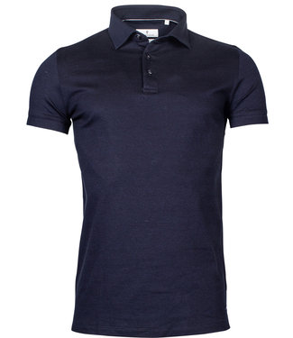 Thomas Maine polo donkerblauw 1knoops wide spread
