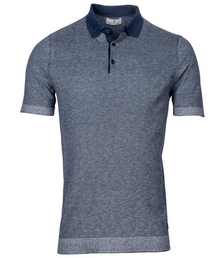 Thomas Maine polo donker jeans blauw structuur