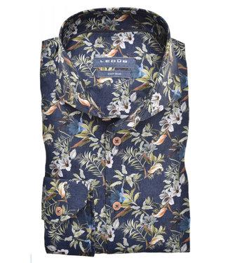 Ledub overhemd donkerblauw met groen bruin bloemen print