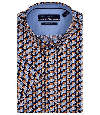 R.B. Boston overhemd korte mouw  wit donkerblauw-oranje-beige-lichtblauw print