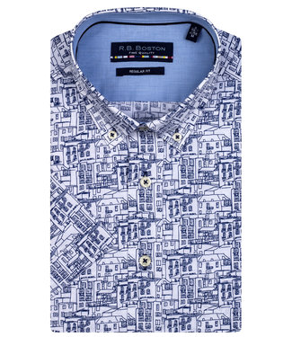 R.B. Boston overhemd korte mouw wit donkerblauw huizen print