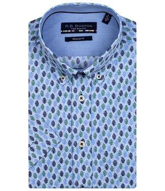 R.B. Boston overhemd korte mouw blauw donkerblauw groen blaadjes print