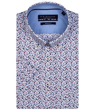 R.B. Boston overhemd korte mouw wit donkerblauw beige zeilboten print