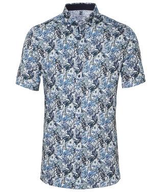 Desoto overhemd korte mouw wit donkerblauw bloemen hagedis print