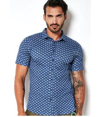 Desoto overhemd korte mouw kobaltblauw groen pauw print