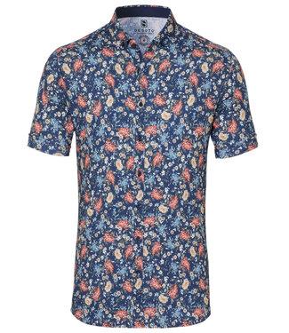Desoto overhemd korte mouw donkerblauw rood blauw bloemenprint