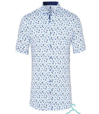 Desoto overhemd korte mouw wit blauw vissen print