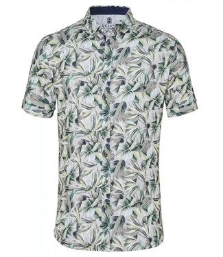 Desoto overhemd korte mouw taupe groen bruin blaadjes print