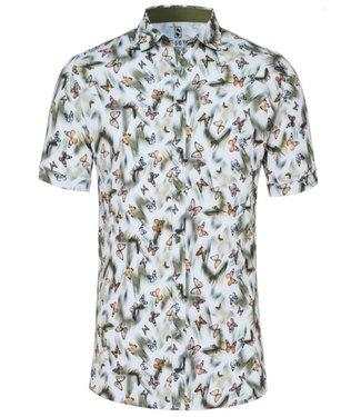 Desoto overhemd korte mouw wit met groen bruin vlinder print