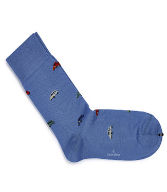 Profuomo heren blauw auto print sokken