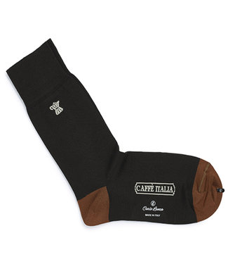 Carlo Lanza heren donkerbruin koffie print sokken