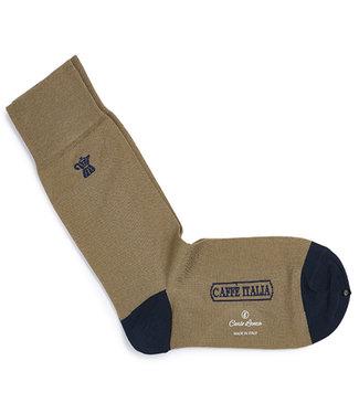 Carlo Lanza heren camel koffie print sokken