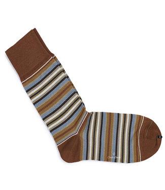 Carlo Lanza heren bruin blauw grijs streepte sokken