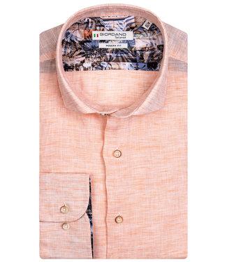 Giordano Tailored heren overhemd licht oranje structuur linnen