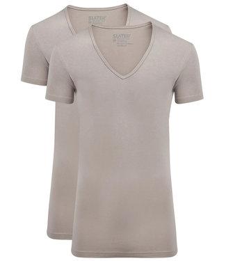 Slater T-shirts huidskleur t-shirts 2-pack diepe v-hals stretch