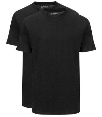 Slater T-shirts zwart t-shirts 2-pack ronde hals brede boord regular fit
