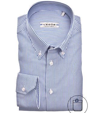 Ledub overhemd donkerblauw-wit fijn streepje
