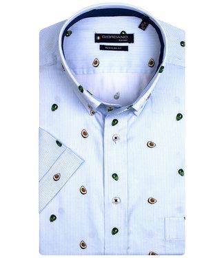 Giordano Regular Fit overhemd korte mouw lichtblauw-wit avocado print