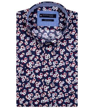 Giordano Regular Fit overhemd korte mouw donkerblauw wit rood bloemenprint
