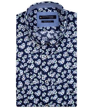 Giordano Regular Fit overhemd korte mouw donkerblauw wit groen bloemenprint