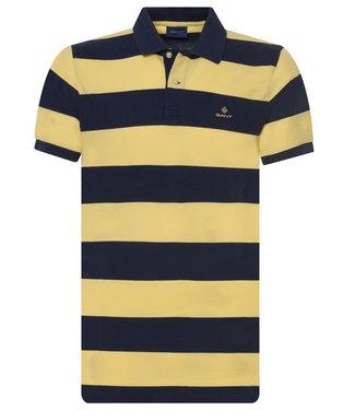 Gant heren polo gestreept donkerblauw geel