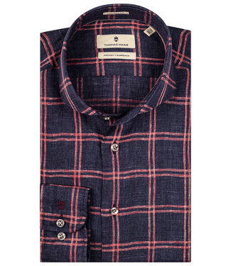Thomas Maine overhemd rood roze grote ruit grijze knopen