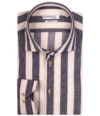 Giordano Tailored overhemd donkerblauw-beige brede streep