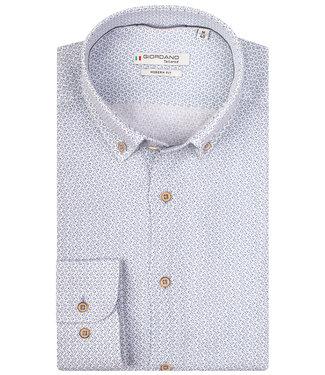 Giordano Tailored heren overhemd wit blauw linnen print