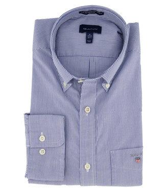 Gant overhemd donkerblauw wit fijn streepje lange mouw