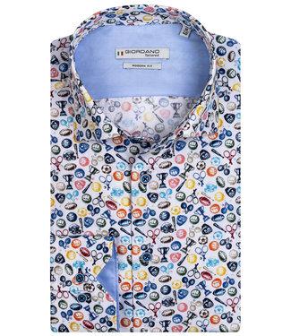 Giordano Tailored heren overhemd wit tutti colori sport print