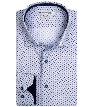 Giordano Tailored heren overhemd lichtblauw bruin print