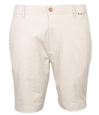 Giordano Tailored heren beige korte broek model mr. Stretch Tandpasta Marvis