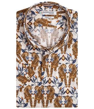 Giordano Tailored heren overhemd korte mouw bruin blauw tijger print