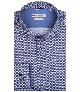 Giordano Tailored heren overhemd wit donkerblauw zebra print