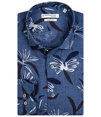 Giordano Tailored heren overhemd jeansblauw donkerblauw wit bloemenprint