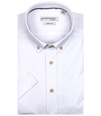 Giordano Tailored korte mouw overhemd wit jersey dynamic flex
