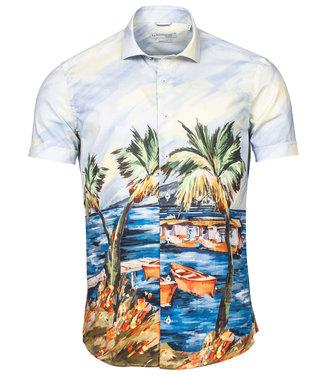 Baileys heren overhemd korte mouw hawai print met palmbomen