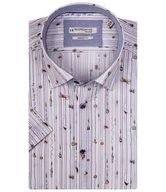 Giordano Tailored korte mouw heren overhemd wit zeedieren print