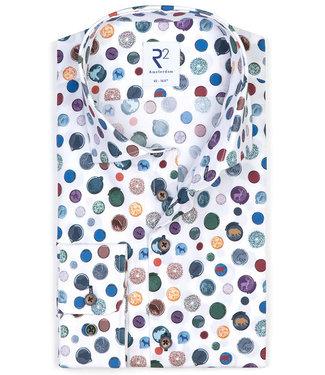 R2 Amsterdam heren overhemd wit met tutti colori figuren print