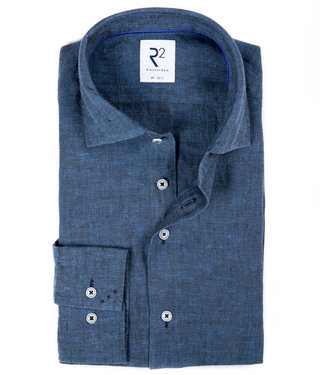 R2 Amsterdam heren linnen overhemd jeans blauw
