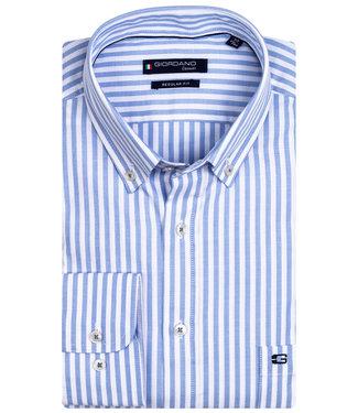 Giordano Regular Fit overhemd lichtblauw-wit streepje lange mouw